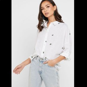 Forever 21 Leaf Embroidered Button Down